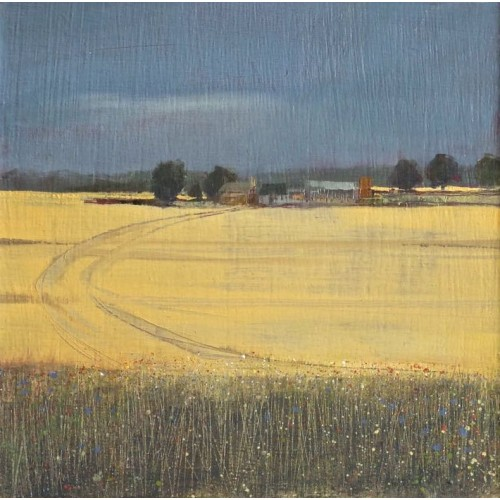 Field Edge 3, oil on board, 13 x 13cm