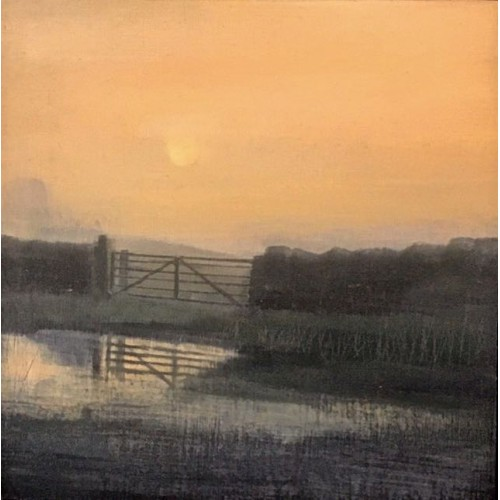 Field Gate 2, oil on board, 15 x 15cm