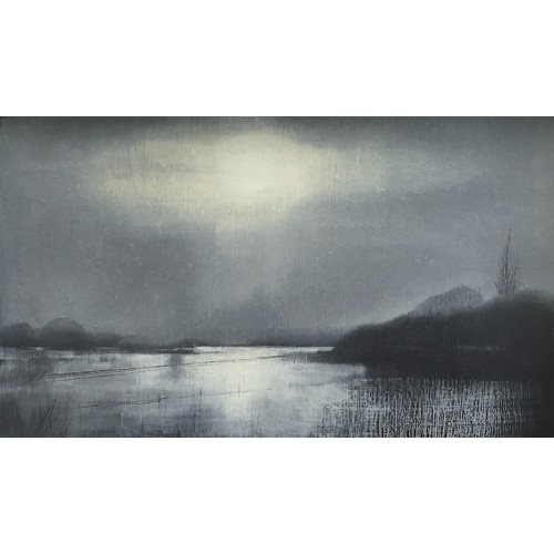 Floods nr. Tewkesbury, oil on board, 12 x 20cm