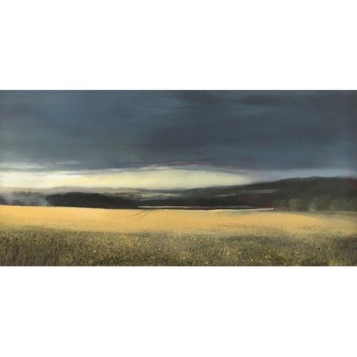 Field Edge, oil on board 16x30cm