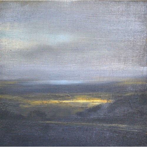 Distant Floods from Cleeve Hill, oil on panel, 15x15