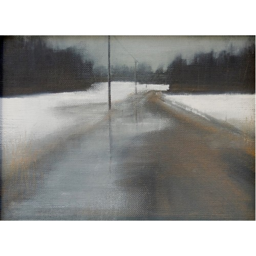 Forest Road Thaw,, oil on canvas board, 13x18