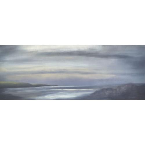 River Camel Estuary, oil on panel, 29.8 x 77cm