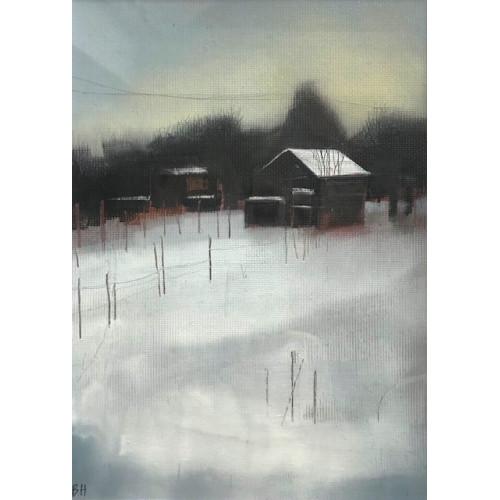 Allotment in Winter, oil on paper, 18 x 13cm