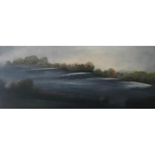 Frosty Hill, oil on board, 21 x 50cm