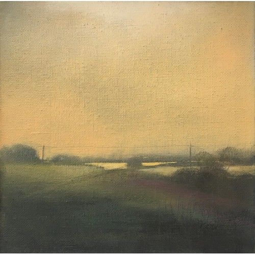 Sea Fret Northumberland, oil on canvas panel, 15x15cm
