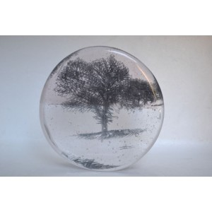 Snow Storm; Tree in Landscape, pink,13cm diameter