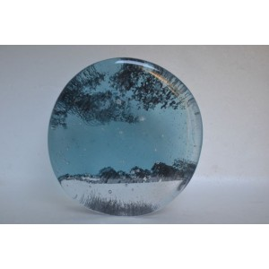 Snow Storm; Field View; indigo, 13cm diameter