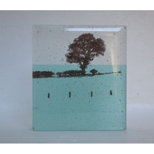 Tree in Field, turquoise, mini cast, 9x8cm
