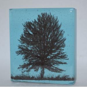 Standing Tree, turquoise, mini cast, 9x8cm