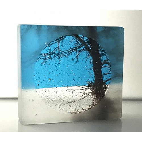 Frosted Ash Tree, turquoise and clear, mini cast, 8x9cm
