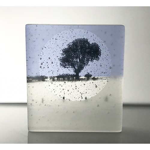 Frosted Lone Tree, neo lavender shift & black, mini cast, 9x8cm
