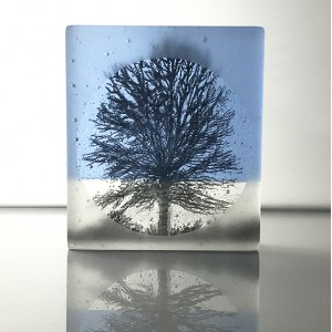 Frosted Birch Tree, sky blue and black, mini cast, 9x8cm