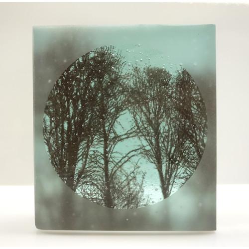 Frosted Treescape, light aqua & sepia, mini cast 9x8cm