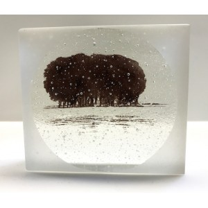 Frosted Copse, sepia and clear mini cast, 8 x9cm