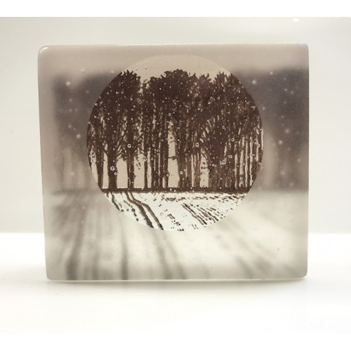Frosted plouged field, dusky pink & sepia, mini cast 8x8cm