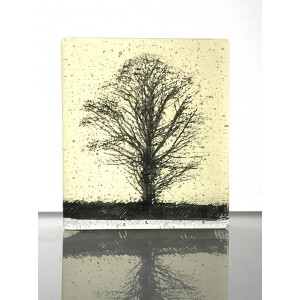 Oak Tree, light yellow & black mini cast, 9x8cm