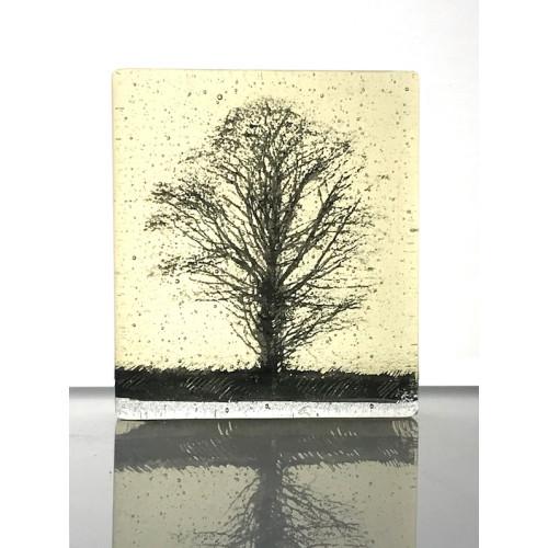 Oak Tree, light yellow & black mini cast, 9x8cm