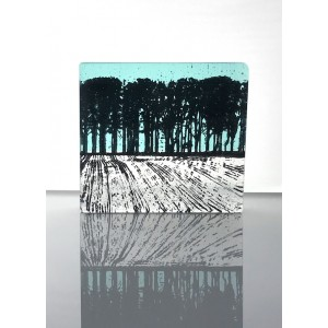 Ploughed Field, aqua marine & black mini cast, 9x8cm