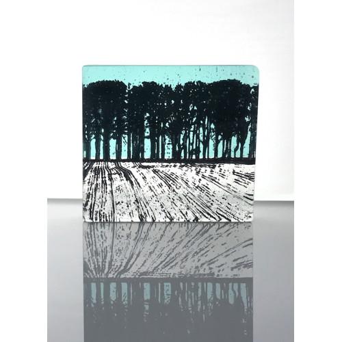 Ploughed Field, aqua marine & black mini cast, 9x8cm