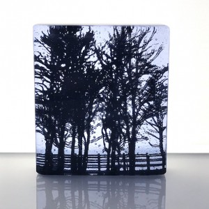 Roadside Trees, neo lavender & black mini cast, 9x8cm
