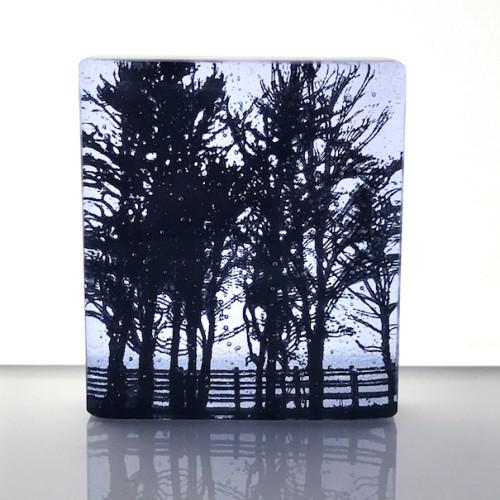 Roadside Trees, neo lavender & black mini cast, 9x8cm