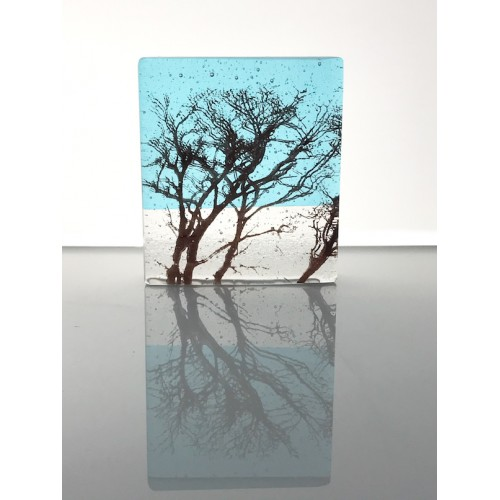 Winter Branches, light turquoise & sepia mini cast, 9x8cm