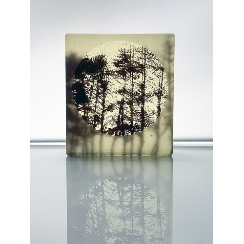 Stoke Woods, frosted sepia and light yellow mini cast, 9x8cm