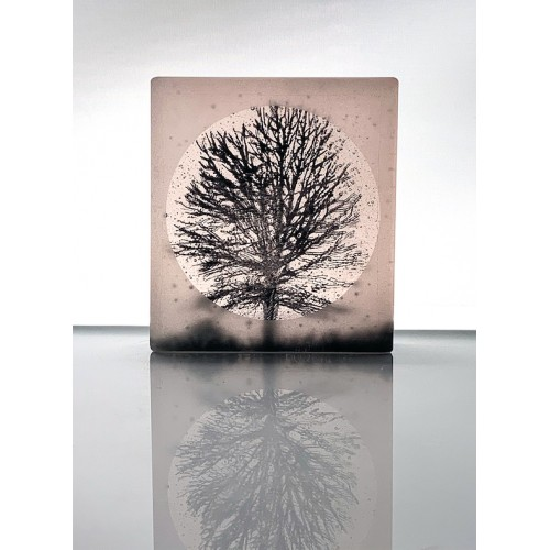 Birch Tree, frosted black and light plum mini cast, 9x8cm