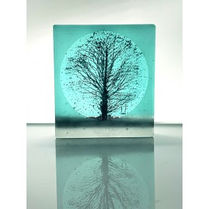Oak Tree and Swing, frosted black and light aqua mini cast, 9x8cm