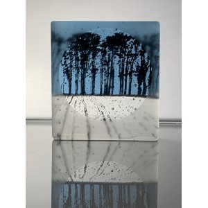 Ploughed Field, frosted sea blue & black, mini cast, 9x8