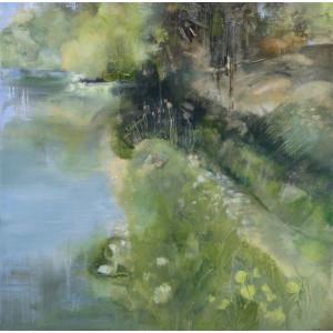 Lakeside Walk, oil on canvas, 100 x100cm