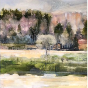 Deeside Birches 2, oil on panel, 61 x 61cm