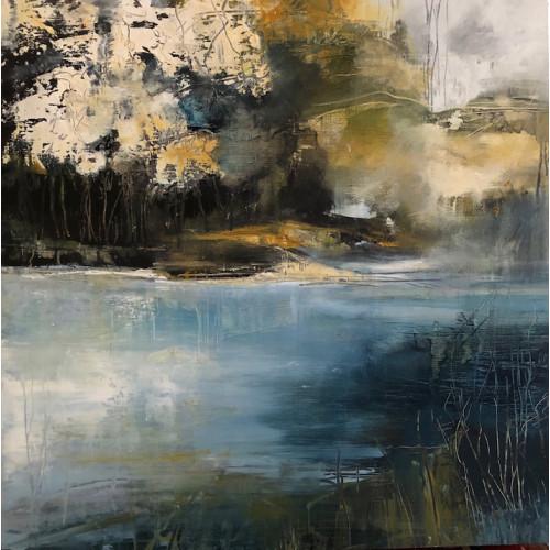 Autumn Bank, oil on panel, 61 x 61cm