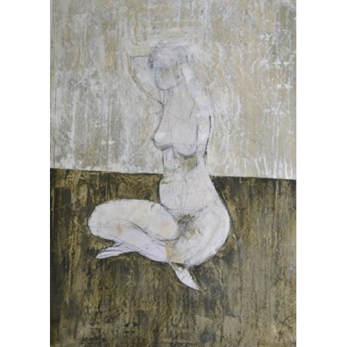 Seated nude 1, oil on paper, 84.1 x 59.4cm