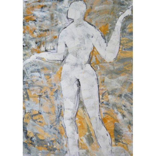 Standing Woman 1, oil on paper, 84.1 x 59.4cm