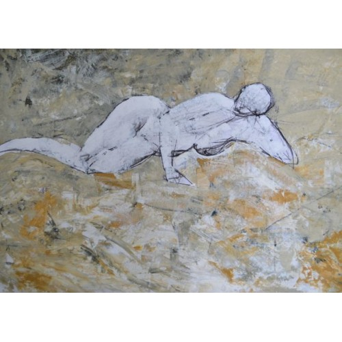Lying Nude, oil on paper, 59.4 x 84.1cm