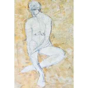 Seated Figure, oil on paper, 84.1 x 59.4cm