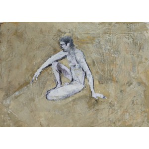 Seated Man, oil on paper, 84.1 x 59.4cm