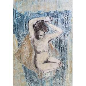 Reclining Nude (blue), oil on paper, 84.1 x 59.4cm