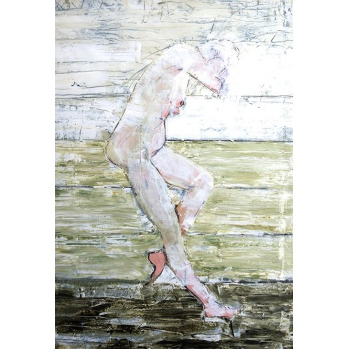 Crouching Nude, oil on paper, 84.1 x 59.4cm