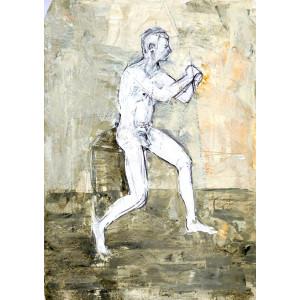 Posing Nude, oil on paper, 84.1 x 59.4cm