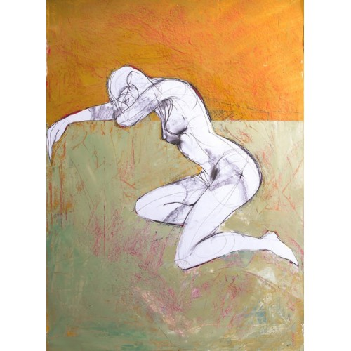 Resting Nude, oil on paper, 84.1 x 59.4cm