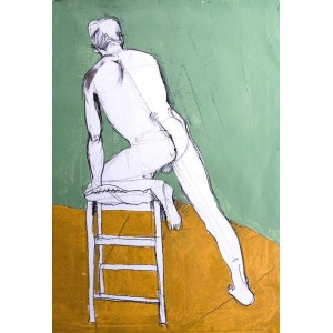Nude with stepladder, oil on paper, 84.1 x 59.4cm