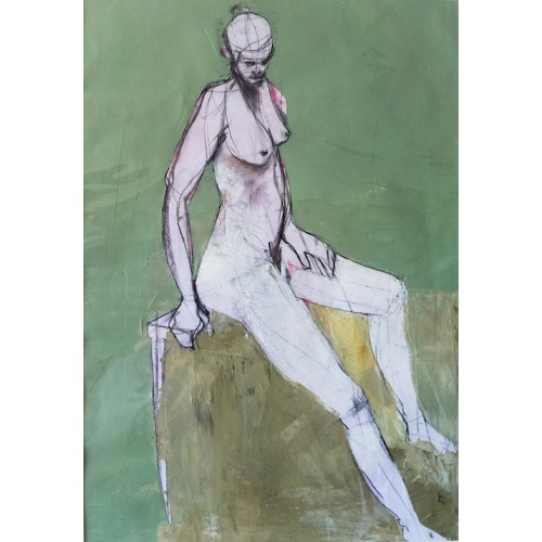 Seated Woman, oil on paper, 84.1 x 59.4cm