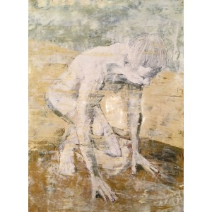 Crouching Man, oil on paper, 84.1 x 59.4cm