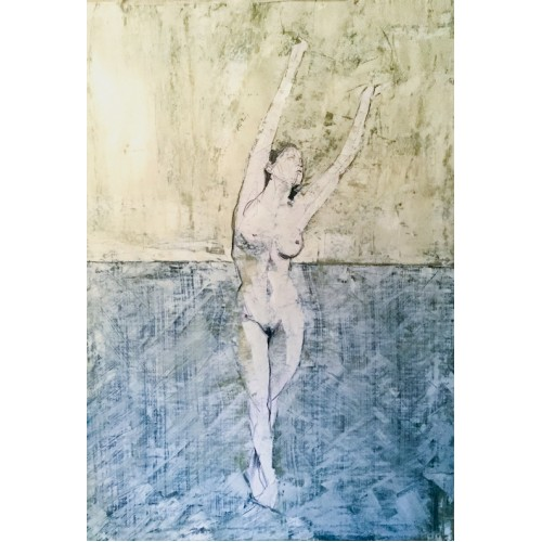 Stretching Nude, oil on paper, 84.1 x 59.4cm