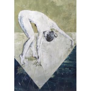 Reaching Down, oil on paper, 84.1 x 59.4cm