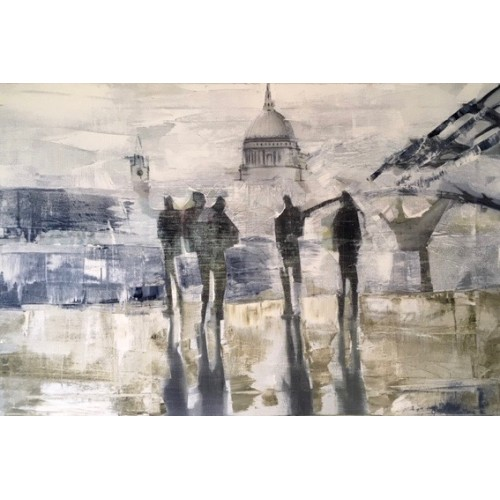 Social Distancing, Millenium Bridge, oil on canvas, 40x60cm