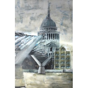Millenium Bridge, oil on wood panel, 61 x 39cm